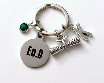 ED.D Keychain, Graduation Gift for EDD Key Chain, Keyring Jewelry Teacher EDD Teaching Grad Gift for Education Student Graduate Doctorate