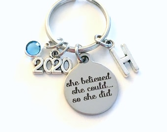 2020 Gift for Job Promotion Keychain, New Career Key Chain, She believed she could so she did can Stainless steel Canadian Seller Shop Etsy