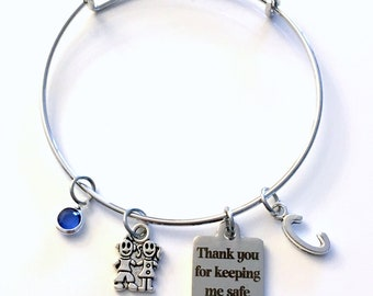 Gift for School Crossing Guard Jewelry, Thank you for keeping me safe Bracelet, Silver Charm Bangle, Bus Driver children kids initial letter