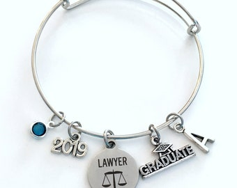 Graduation Gift for Lawyer, 2019 Law School Grad Charm Bracelet, Passing the Bar, Student Silver Bangle Jewelry Graduate her women woman