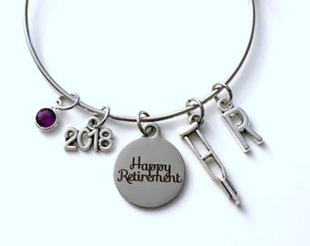 Retirement Gift for Physiotherapist, PT PTA Charm Bracelet Jewelry Silver Bangle Coworker letter initial birthstone Retire Present Boss 2018