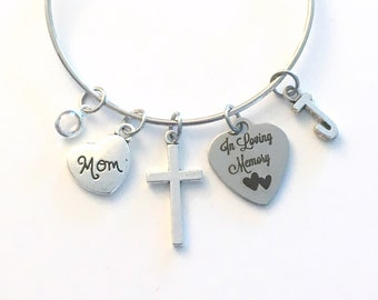 In loving memory Bracelet, Gift for Sympathy, Jewelry Memorial Silver birthstone initial cross loss of mom dad brother sister son daughter