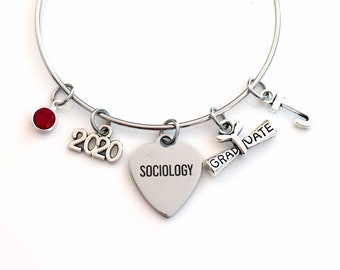 Gift for Sociology Graduation Bracelet, 2020 Social Worker Student Grad Bangle, Jewelry Graduate Charm Scroll Initial women her present 2019