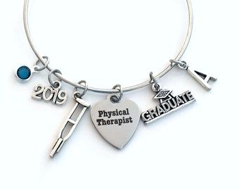 PT Graduation Gift for Physical Therapist 2019  Grad Charm Bracelet, Silver Bangle Jewelry Graduate Charm letter birthstone her women 2019