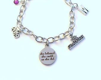 She believed she could so she did bracelet, 2019 Graduation Gift Grad Jewelry Charm Chain Link Silver initial birthstone 2020 lobster teen