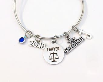 Law School Graduation Gift, 2017 2018 Lawyer Charm Bracelet, Passing the Bar Association Student Grad 2016 Silver Bangle Jewelry Graduate