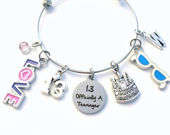 13 Officially A Teenager Charm Bracelet / 13th Birthday Gift for Girl Jewelry / Turning Thirteen Present / Her Daughter Granddaughter