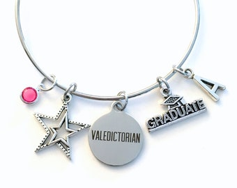 Valedictorian Jewelry Charm Bracelet, Graduation Gift for Daughter Granddaughter, Student Silver Bangle College her girl star teenager teen