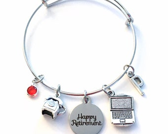 Secretary Jewelry, Retirement Gift for Receptionist Charm Bracelet Silver Bangle Coworker initial Birthstone phone laptop computer telephone