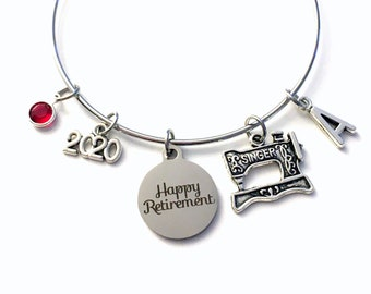Retirement Gift for Women Charm Bracelet Jewelry, 2020 Seamstress Costume Designer, Sewing Silver Bangle Coworker tailor birthstone Present