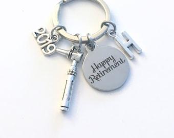 Retirement Gift for Otolaryngologist Keychain, 2019 ENT Doctor Key chain, Ear Scope Keyring Initial letter present men Audiology Otoscope