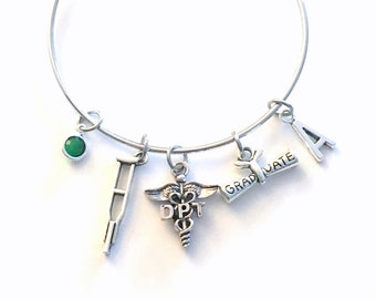 Graduation Gift for DPT Bracelet, Doctor of Physical Therapy Jewelry, Therapist Charm Bangle, Silver Crutches Crutch Caduceus birthstone her