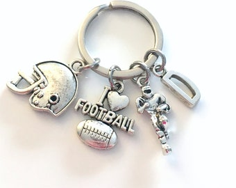 Football Keychain, Foot Ball Player Key Chain, I love Football Gift, Team Trainer, Christmas Birthday Father's Day Present, Helmet Men Him