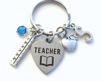 Teacher Keychain, Gift for Teaching Assistant Key Chain, Thank you Present, Education Keyring Initial Birthstone ruler apple School math