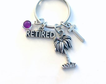 Gift for Retired Dad Keychain, Palm Tree Key Chain, Retirement Present Keyring, Initial Personalized present women Men her him friend Boss