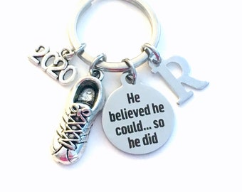 Running Key Chain, 2020 Track Keychain, Gift for Marathon Run Keyring Jewelry Cross Country Runner Sneaker He believed could so he did can