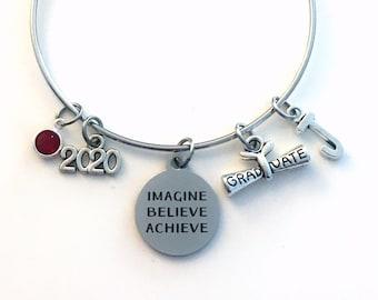 Graduation Gift for Her Bracelet, 2020 Imagine Believe Achieve Jewelry, High School Teen Girl College Grad Silver Teenager Teenage scroll