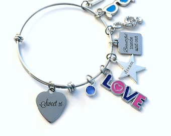 16th Birthday Gift for Girl Charm Bracelet / Turning Sweet 16 Present for Her / Silver Personalized Jewelry / Daughter Granddaughter Sixteen