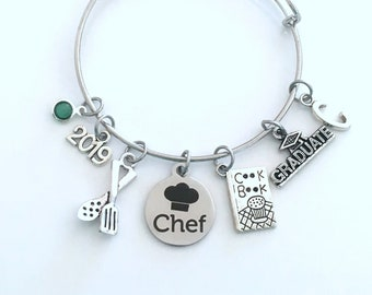 Culinary Graduation Bracelet, Chef Grad Jewelry, Student Gift Graduate Cooking  2019 Silver Charm Bangle Cuisine Food Women Her Book