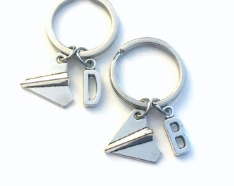 Set of 2 Best Friend Keychain, Paper Plane Key Chain, Groomsman Gift, Airplane Keyring Gift for BFF Friends Silver Plane Charm boy men girl