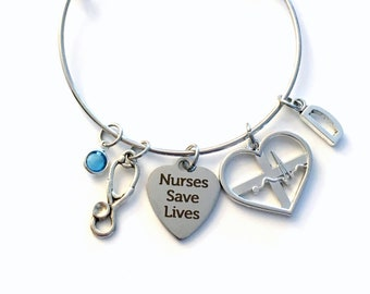 Nurses Save Lives Bracelet, Heart Beat Jewelry, Silver EKG ECG Gift for medical nurse, silver heartbeat men women her Electrocardiograph