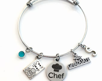 Graduation Gift for Chef Charm Bracelet, Student Grad Bangle, custom initial birthstone letter Jewelry Graduate Pastry Line Cook
