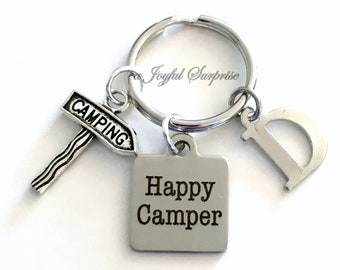 Happy Camper Key Chain, Camping KeyChain, Gift for Campground Friend