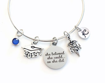 Gift for RN Graduation Present, 2019 Registered Nurse Bracelet, Nursing Charm Bangle She Believed She could so she did Silver Jewelry women