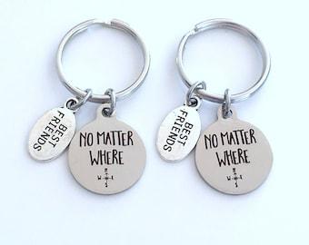 Best Friend Keychain for 2, No Matter Where Key Chain, Going away Gift, BFF girlfriend compass long distance relationship present