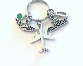 Graduation Gift for Pilot KeyChain, Airplane Key Chain, Graduate Keyring Jewelry Initial Birthstone her men women new license wings present