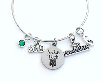 Gift for XRay Technician Graduation Bracelet, 2019 Radiology X-Ray Tech Student Grad, Jewelry Graduate Charm Initial women Radio present her