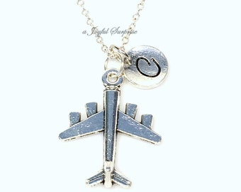 Pilot's Necklace with initial, Gift for Flight Attendant Jewelry Silver Vacation Plane Air Force Bomber Charm Long Short Man Male Men 138