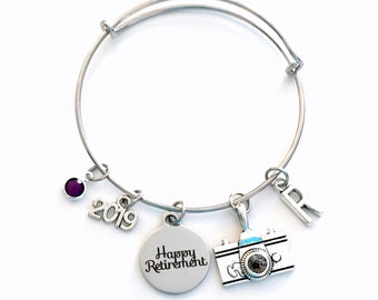 Retirement Gift for Photographer, 2019 Photography Camera Charm Bracelet Jewelry Silver Bangle Coworker initial birthstone Present 2020 her