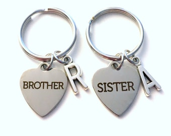 Sibling Keychain, Brother Sister Key Chain Set of 2 3 4 5 6 7 8, Gift for Bridal Party Present Keyring Silver Initial Personalized her