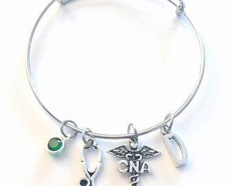 Certified Nursing Assistance Bracelet, CNA Jewelry, Nurse Charm Bangle, Silver Medical Caduceus Stethoscope, Gift for women birthstone her
