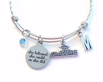 Graduation Gift for Daughter Charm Bracelet, She believed she could so she did Jewelry, Stainless Steel Charm Bangle Granddaughter Ornate