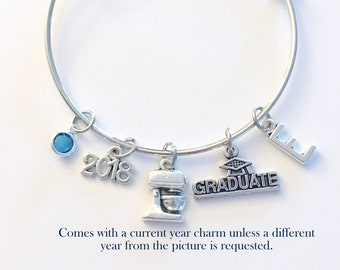 Pastry Chef Graduation Gift Charm Bracelet, 2018 Student Grad Bangle custom initial birthstone letter Jewelry Graduate Pastry Line Cook 2019