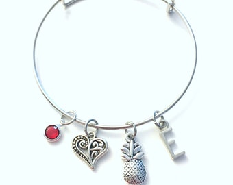 Pineapple Bracelet, Gift for Fertility Jewelry, Good luck Charm Bangle, IFV TTC, Food Pendant