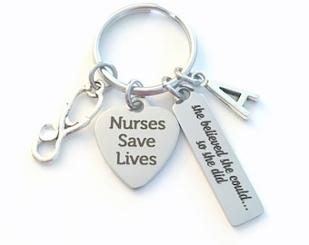 Thank you Gift for Nurse Keychain, She believed she could so she did Key Chain, Nurses Save Lives Keyring Present Stethoscope bar Graduation