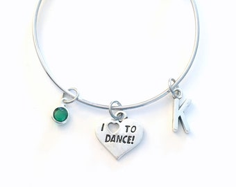 Dance Bracelet, Gift for Dancer Jewelry, 55mm Dancing Daughter Charm Bracelet, I love to Dance Stainless Steel Bangle Child Size, Present