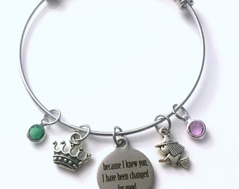 Because I knew you, I have been changed for good Jewelry, SS Gift for Best Friend Charm Bracelet, Musical Wicked Bangle witch tiara crown