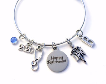 Retirement Gift for LPN Nurse 2021 Women Charm Bracelet Jewelry Silver Bangle Licensed Practical Nursing initial letter Birthstone Present