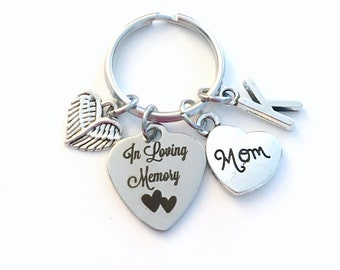 Loss of Mother Keychain, In Loving Memory Key Chain, Sympathy Gift for Daughter Son Mom Dad Keyring, Brother Sister Wife Husband, Angel Wing
