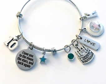 10th Birthday Gift for Girl Charm Bracelet / 60mm Turning 10 Present for Her / Daughter Jewelry I love you to the moon the stars back again