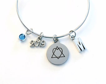 Adoption Bracelet 2019 Gotcha Year, Gift for New Mom Parent Jewelry Adopt Symbol Charm Bangle Silver initial Birthstone Present her 2020
