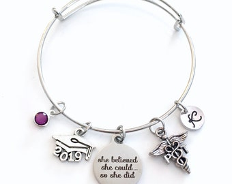 Gift for PT Graduation Present, 2019 Physical Therapist Bracelet, Charm Bangle Therapy, She Believed She could Silver Bangle Jewelry