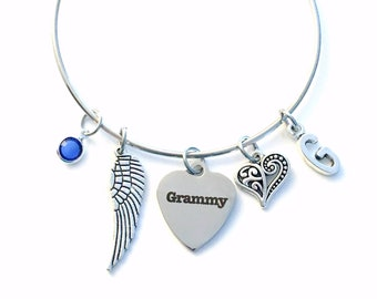 Guardian Angel Grammy Charm Bracelet, Memorial Loss of Grandmother Jewelry bangle Silver Angel Wing letter Nana Mimi Grandma Grammie Mommy
