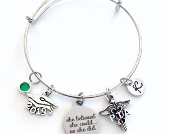 Gift for PTA Graduation Present, 2019 Physical Therapist Assistant Bracelet, Charm Bangle Therapy, She Believed she could so she did Jewelry