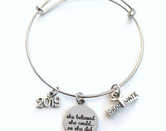 Graduation Gift for Under 20 dollars, Charm Bracelet Junior High School 2019 Silver Bangle Jewelry She believed she could so she did 2017