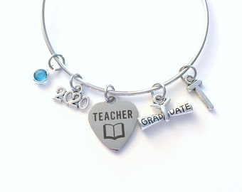 Teacher Graduation Bracelet, Teaching Grad Gift for Education Student 2020 Silver Bangle Jewelry Graduate Charm letter initial her women